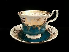 ROYAL ALBERT Fine Bone China Tea Cup & Saucer ~ REGAL SERIES Teal & Gold ~ MINT!