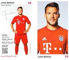 Juan Bernat (18) + FC Bayern München + Saison 2015/2016 + Autogrammkarte +