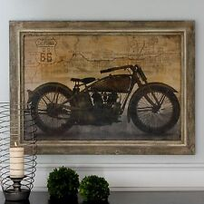 STATELY BEAUTIFUL OIL REPRODUCTIONART PAINTING VINTAGE MOTORCYCLE HARLEY STYLE