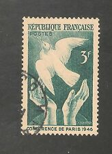 France #566 (A157) USED - 1946 3fr Reaching For Peace (Prussian Green)