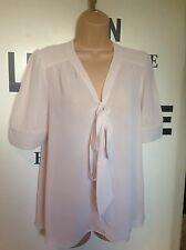Topshop Pink Nude Blouse size 8 Viscose Pussy Bow Pleated Short Sleeve ��