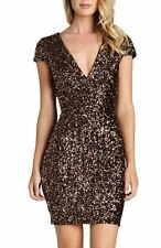 DRESS THE POPULATION ZOE SEQUIN V-NECK BODY-CON GOLDEN BRONZE DRESS sz  S