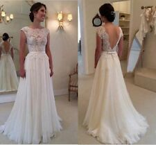 New backless lace wedding formal dress chiffon Bridal Gown size 6 8 10 12 14 16