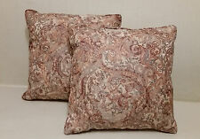 "Set/2 14"" Paisley Silky Satiny Accent Throw Toss Pillows  Beige Nutmeg Turquoise"