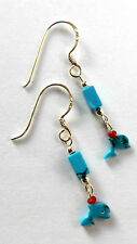 **BEAUTIFUL DAINTY 925 SILVER - TURQUOISE DROP WITH DOLPHIN EARRINGS**