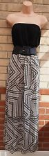 NEW LOOK WHITE BLACK BELTED BANDEAU GYPSY ABSTRACT TRIBAL LONG MAXI DRESS 12 M