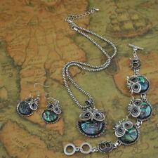 Women Bohemian Vintage Shell Owl Pendant Necklace Bracelet Earrings Jewelry Set