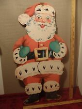 "vintage Christmas Santa plywood cutout 28"" tall c. 1950"