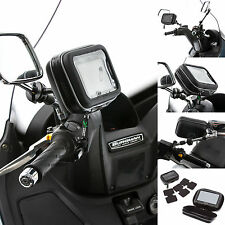 "Scooter Moped Mirror Mount + Water Resistant Case for up to 5"" SatNav GPS Device"