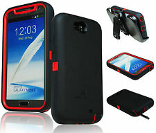 ZeroLemon Red / Black Zero Shock Series Hybrid Case+ Holster For Samsung Note 2