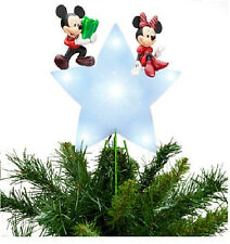 DISNEY MICKEY & MINNIE MOUSE Lighted CHRISTMAS TREE TOPPER New In Box