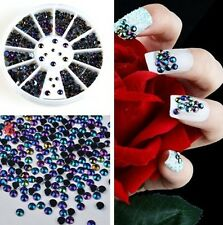 HS19 3D Nail Art Tips Crystal Glitter Rhinestone Pearl Decoration+Wheel ONE