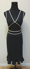 Express Womens Junior Sleeveless Dress Size 5/6 Black with White Trim A line