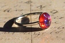 Petite Dragons Breath Mexican Fire Opal ring, cup, sterling silver, SIZE 7
