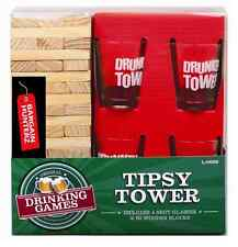 Wooden Tipsy Drunken Tower Jenga Adult Party Drinking Game with 4x Shot Glasses