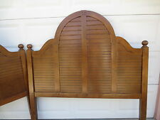 Pair Coastal Louver Queen Full 2 Size Headboards Shutter Cottage Shabby TAN BED?