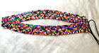 "Belt pink white green beaded retro black brown 30"" red blue 90's size small s"