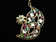"""party mask multi colors crystal masquerade pendant gold 33"""" long necklace F56"""