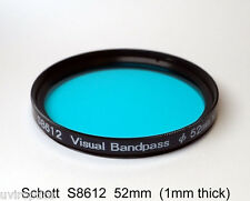 Schott S8612  52mm x 1mm thick Visual Bandpass IR Suppression UV/IR Cut Filter