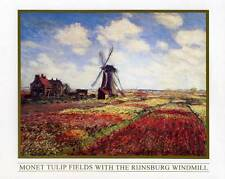 Tulip Fields with the Rijnsburg Windmill by Claude Monet - 10x8 In. Art Print