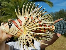 """AWESOME POLYFIBER 12"""" x 8"""" LONG LION FISH WALL DECOR HANGING WITH HANGER ON BACK"""