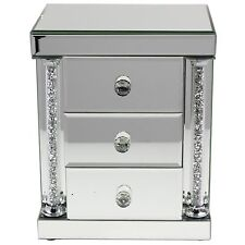 NEW MIRRORED 3 DRAWER JEWELLERY BOX WITH GLASS HANDLES