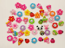 47 pcs Mix Resin Cabochon Flatback Flower Little Girl Smiley Cartoon Craft 20mm