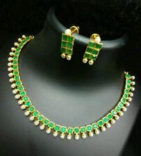 Trendy n stylish green stone  studded jewellery set with beautiful earrings