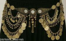 MIRROR GOLD TONE COIN BELT CHAIN LINK TRIBAL BELLY DANCE INDIA MEDALLION ANTIQUE