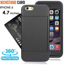 Anti-Shock Credit Card Slot Holder Hard Soft Armor Stand Case For iPhone 6S 4.7