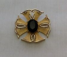 "Vtg Abstract Maltese Faceted Jet Colored Glass Brooch-Signed ""Trifari"""
