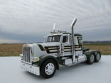 DCP 1/64 SCALE 389 PETERBILT SMALL BUNK WHITE / DARK GREEN & BLACK STRIPES