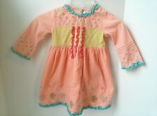 Deux Par Deux Girl's Corduroy Pink Dress Embroidered Ruffles Boutique Size 2