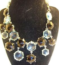 """Chico's signed gold tone necklace 14-18"""" light blue & black crystals choker NEW"""
