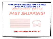 New BOYS LT PINK Satin Cummerbund Bow Tie Tuxedo Set KIDS