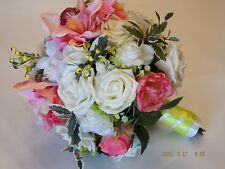 Real Touch Bridal Bouquet roses lilies lilly hydrangea pink flowers NEW