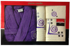 PIERRE CARDIN LUXURY 4 PIECE BATHROBE TOWEL SET PURPLE CREAM EMBROIDERY COTTON