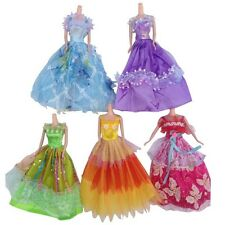 5Pcs Fashion Princess Party Dress Wedding Clothes/Gown For Barbie Doll Sets Lots