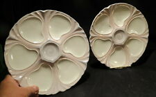 pair (6)well Oyster / seafood Plates / art deco marked Longwy / MAJOLICA 10 inch