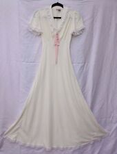 Vintage 40s Fischer Heavenly Lingerie Bow Lace V-Neck Dress Nightgown XS