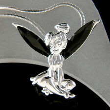 w Swarovski Crystal Rare Black Tinkerbell Tinker Bell ANGEL Wings Charm Necklace