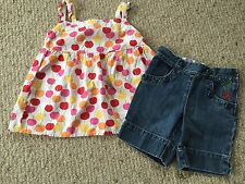 GYMBOREE 4 4T CHERRY BABY Swing Top Jean Shorts Denim Outfit Summer spring