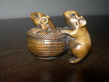 NETSUKE 2 RATS 2 MICE (II) FIGURINE BOXWOOD JAPANESE HANDMADE CARVING SIGNED