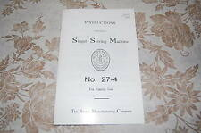 Super Clean Gloss-Paper Instructions Manual for Singer Class 27 Sewing Machines.