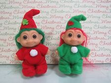 "***SOLD*** PAIR OF TINY CHRISTMAS ELVES - 2"" Russ Troll Dolls - VERY RARE"