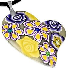 Fashion Fimo Polymer Clay Rose Flower Love Heart Charm with Necklace FPA162