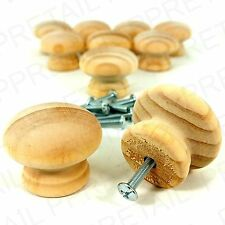 10x PINE 40MM WOODEN/DRAWER KNOB HANDLE+ INSERTS & BOLTS Door Plain Natural Wood