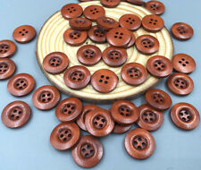 50PCS DIY Coffee Brown Wooden Buttons 4 Holes Sewing Scrapbooking Crafts 15mm