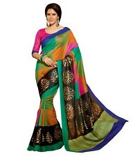 Indian Designer Multiprint Big Checks Bhagalpuri Silk Saree...........
