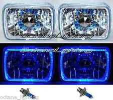 7X6 Blue Halo Halogen Crystal Clear Headlights Angel Eye Headlamp H4 Light Bulbs